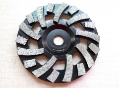 Spriral turbo diamond cup wheel for concrete grinding