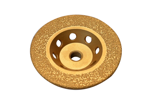 vacuum brazing diamond cup wheel for metal grinding (cooling holes on the shank)